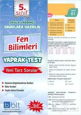 Bulut Eğitim ve Kültür Yayınları - 5. Sınıf Fen Bilimleri Yaprak Test