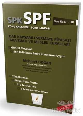 Pelikan Tıp Teknik Yayıncılık - SPK - SPF Dar Kapsamlı Sermaye Piyasası Mevzuatı ve Meslek Kuralları Konu Anlatımlı Soru Bankası